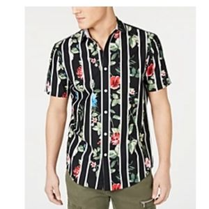INC Men's Gregory tropical print stripe camp shirt